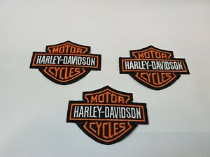 Lot of 3 Black & Orange Embroidered Iron on Harley Davidson Patches