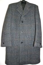 "Men's Vintage Genuine Crombie Overcoat Tweed Wool Grey Herringbone 42-44"" Chest"