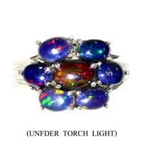 Oval Black Opal Rainbow Flash 7x5mm White Gold Plate 925 Sterling Silver Ring