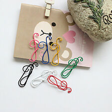 10Pcs Clips Stationary Office Supplies Random Color Colorful Musical Note Paper