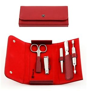 Twin Manicure Set 5-tlg. Leather Red, Classic Inox Stainless Steel 97546-003