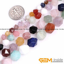 Natural Colorful Mixed Semi-Precious Gemstone Polygonal Faceted Round Beads 15