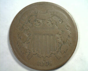 1865 PLAIN 5 TWO CENT PIECE VERY GOOD VG NICE ORIGINAL COIN FROM BOBS COINS