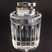Atlantis Crystal Sonnet Table Lighter Vintage Glass Cigarette Lead Cut Clear