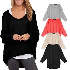 Women Oversized Loose Long Sleeve Shirt Batwing Jumper Pullover Baggy Blouse XXL