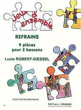 Refrains 9 pièces Lucie Robert-Diessel Combre Edition 2 Bassoons MUSIC BOOK Only