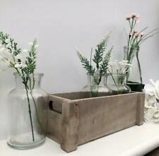 Rustic Wooden Crate with 3 Mini Bottles Flower Bud Vase Wedding Table Decoration