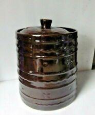 "New listing Vintage Brown Stoneware Cookie Jar ""Marcrest"" Oven Proof Excellent"