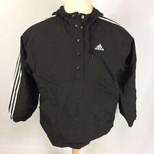Minty Vintage 90's Adidas Jacket Coat Windbreaker Black White L Nylon Running