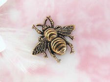 ANTIQUE BRASS (2 Pieces) Victorian Small Bee Stamping ~ Jewelry (CA-3041) *