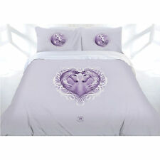 Anne Stokes White Unicorn Pruple Quilt Doona Cover Set - DOUBLE QUEEN KING