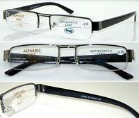 L408 Classic Semi-Rimless Special Bridge Reading Glasses Spring Hinge Thin Specs