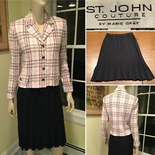 ST JOHN COUTURE Size 4 6 Small Pink Black Boucle Tweed Stretch Knit SKIRT SUIT