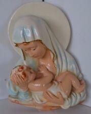 Vintage Chalk Chalkware Virgin Mary Jesus Wall