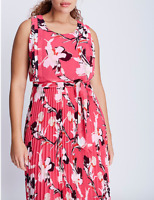 LANE BRYANT Printed Pleated Skirt Dress 14 16 18 20 22 24 26 28 Pink 1x 2x 3x 4x