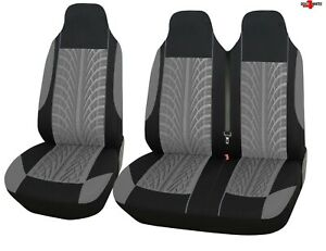For Ford Transit Transit Custom Tyre Design Grey Soft Fabric Van Seat Covers
