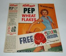 1950's Kellogg's PEP cereal Box w/ Puzz-l-ring Ring Premium offer