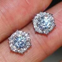 White Sapphire 925 Silver Ear Stud Hexagon Earrings Women Casual Club Jewelry