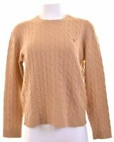 RALPH LAUREN Womens Crew Neck Jumper Sweater Size 16 Large Brown Lambswool  JR12