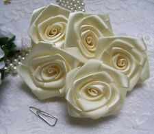 "2"" Light Ivory (Antique White) Satin Ribbon Roses Flower-Lots 12Pcs-R0035I"