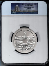 2011-P 5 OUNCE GETTYSBURG  SILVER 25c  NGC SPECIMEN 70 - SP70 - EARLY RELEASES