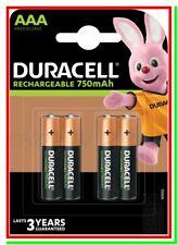 4 Pile Batterie DURACELL Ricaricabili AAA MINISTILO HR03 DC2400 NiMH 750mAh