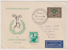 AUSTRIA 1954: souvenir postcard mailed from WORLD WEIGHTLIFTING COMP (1528)