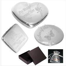 Engraved Heart, Square, Round Handbag Compact Mirror Gift C1