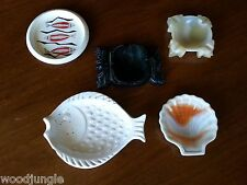 5 pc Vintage TIKI BAR SET  BOWL DISH ASHTRAY MILK GLASS GOD SCALLOP SHELL FISH