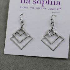 lia sophia silver tone drop dangle earrings hoop square texture simple jewelry