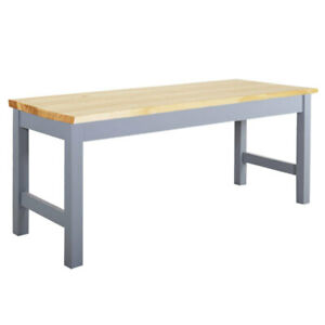 Natural & Grey Pine Wood Dining Bench Kitchen Long Seat Garden Chair 2 Seater