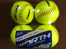 "Worth 12"" Official League Softball Set of 4 ~ Free Same Day Priority Ship !"
