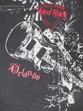 Hard Rock Café - Orlando - Bordado Letras - Grande - Negro Camiseta N906
