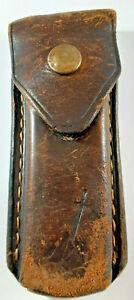 "Vintage Gerber Leather Belt Pouch for Folding Knife-5.25"" X 2.25""-Snap Closure"