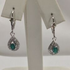 Natural Emerald with Natural Diamond Dangle Earrings Solid 14kt White Gold