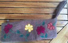 NWOT Wool Zipper bag extra long w/needle felted floral design by Frabjous Fibers