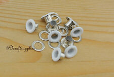 eyelets metal with washer grommets white round 100 sets 4 mm AC72G