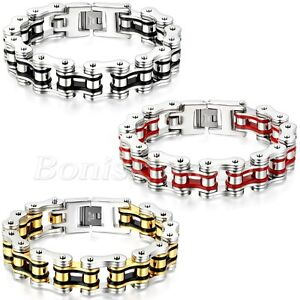 Heavy Polish Motorcycle Bike Chain Stainless Steel Bracelet Link Men's Jewelry