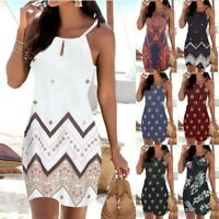 Women Halter Neck Boho Tank Vest Sleeveless Casual Mini Beachwear Dress Sundress