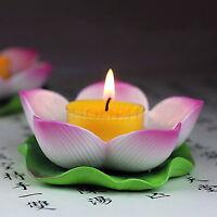 Lotus Flower Candle Stand Tea Light Holder Chinese Ceramics vintage art Plate 3D