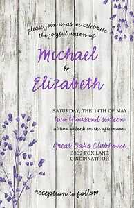 Wedding Invitations White Wood & Flower 50 Invitations & RSVP Cards Any Colors