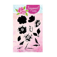 STUDIO LIGHT Layered Clear Stamps DOG ROSE & LEAVES STAMPLS04 35mm x 32mm
