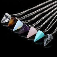 Gemstone Natural Crystal Quartz Healing Point Chakra Stone Pendant Necklace