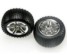 New Traxxas 5572R Mounted Rear Tires/Wheels (2) Nitro Rustler/Stampede/Jato 3.3
