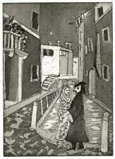 MARGARET E. Z. LEVINSON Aquatint Etching COUPLE AT VENICE ITALY - 20TH CENTURY