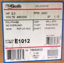 """~Discount HVAC~ E1012 - AO Smith Belt Drive Motor 2HP 3450RPM 460/230V RCC 7/8"""""""