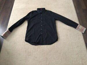 PAUL SMITH 16.5/42 Men's Black Shirt - Signature Stripe Double Cuffs