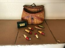 Vintage Wicker and Leather Fishing Creel - + 7 vintage wood lures + Bob-Bet