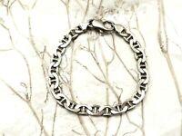 "Italy Italian Sterling Silver 925 Mariner Link Women Stack Layer 7"" Bracelet"