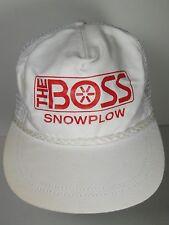 Vintage 1980s THE BOSS SNOWPLOW SNOW EQUIPMENT ADVERTISING ROPE SNAPBACK HAT CAP